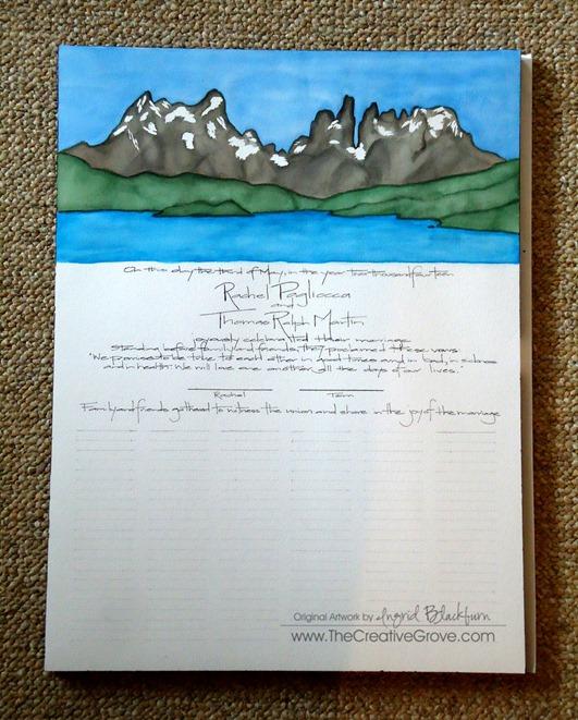 Handpainted Quaker Wedding Certificate