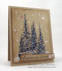 Pines on Rocks Winter Scene