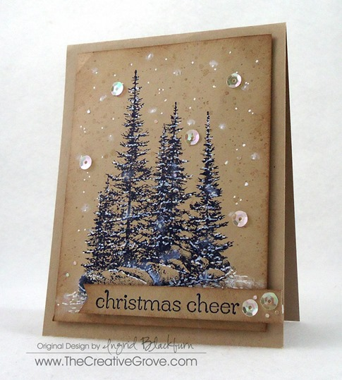 Pines on Rocks Winter Sequin Card (3)