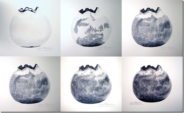 Blueberry Watercolor Painting Stages