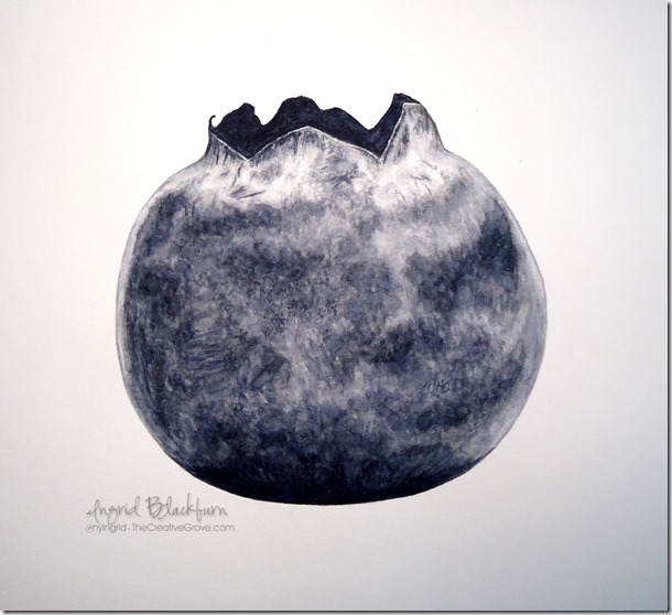 Blueberry Watercolor Botanical Painting 001