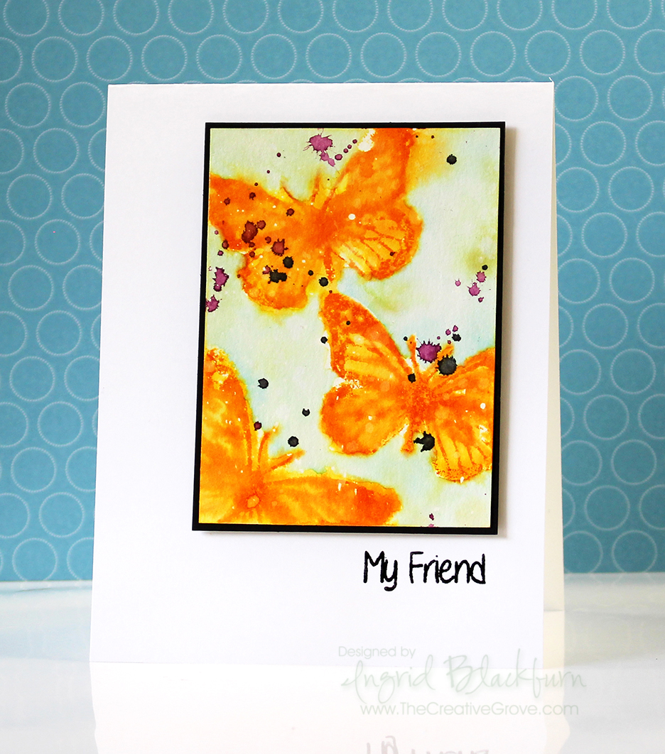 Watercolor Stamped Birthday Butterflies 005