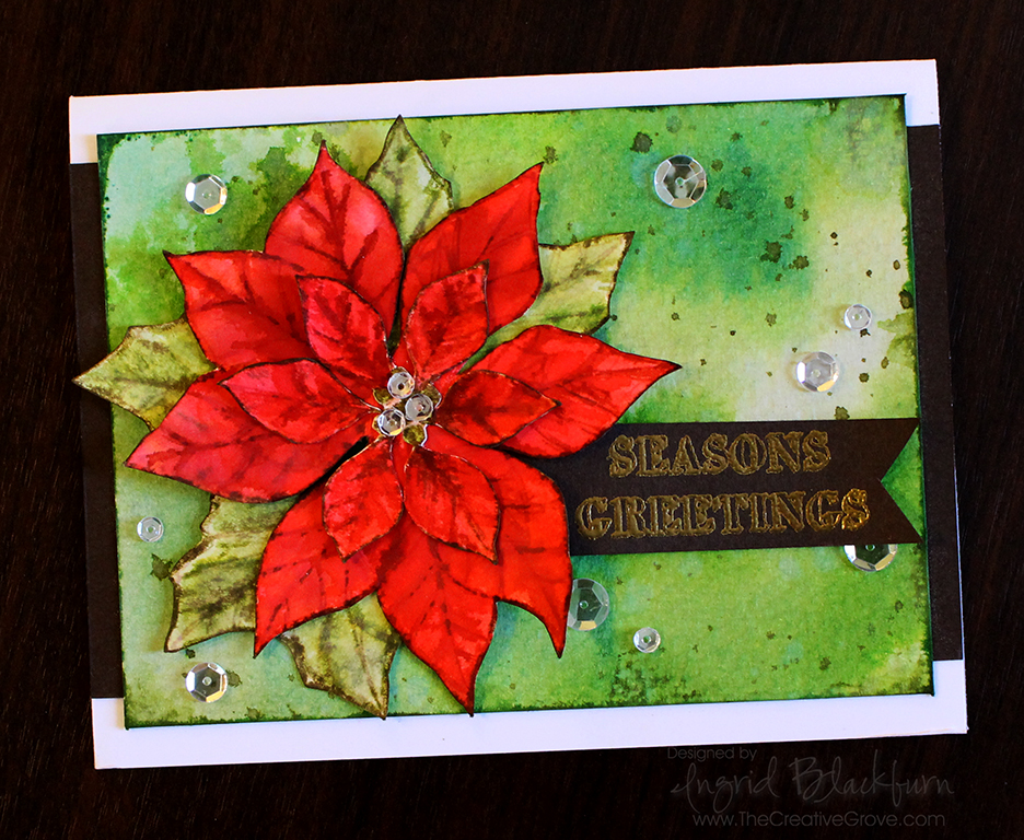 Watercolored Poinsettia 002