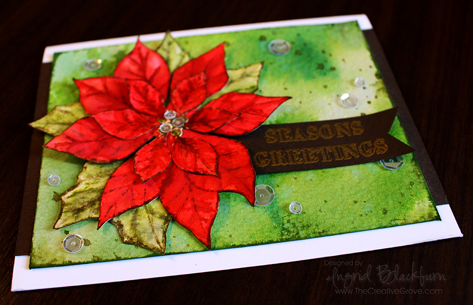 Watercolored Poinsettia 003