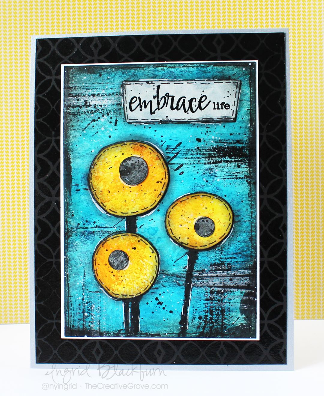 Mixed Media Mojo Flowers Challenge - Ingrid Blackburn