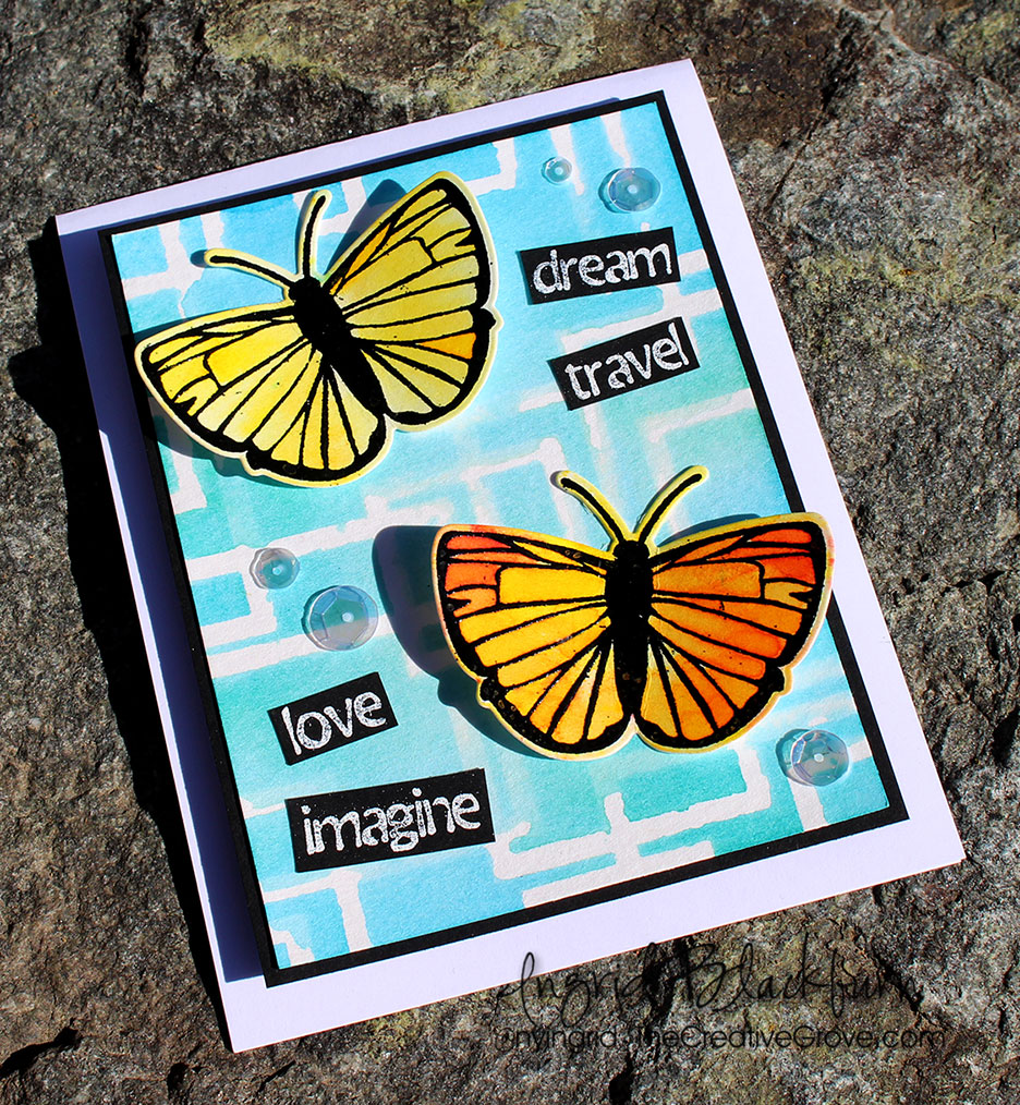 watercolor with stencils - ingrid blackburn