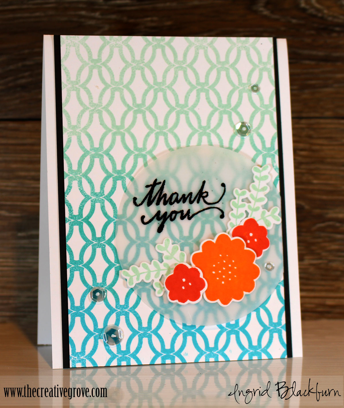 Ombre Lattice Thanks Card
