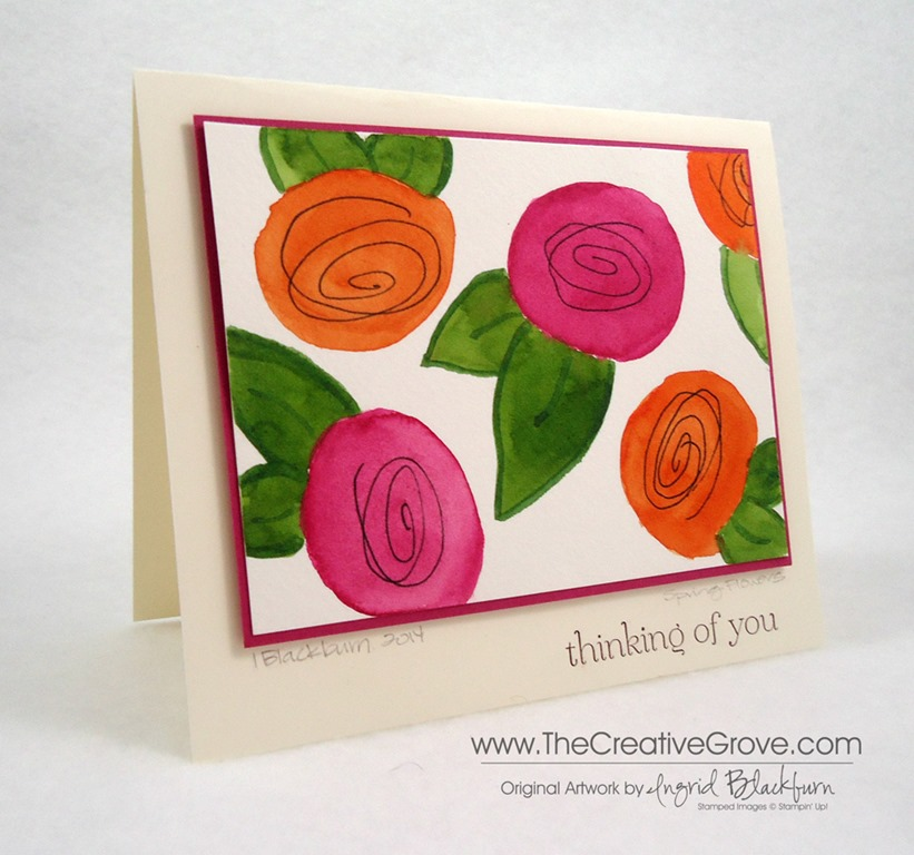 Spring flowers watercolor card i know i added a thinking of you greeting but this would be the perfect blank or mothers day card since it is an original artwork piece i also added a m4hsunfo